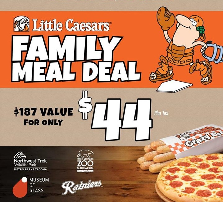 Little Caesars and the Tacoma Rainiers have teamed up once again to bring you the Best Family Meal Deal Ever! For only $44, you'll receive: • 4 Reserved Tickets.