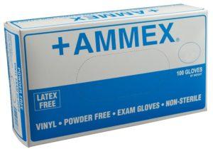 Ammex VPF Vinyl Glove, Medical Exam, Latex Free, Disposable, Powder Free, Medium (Box of 100)
