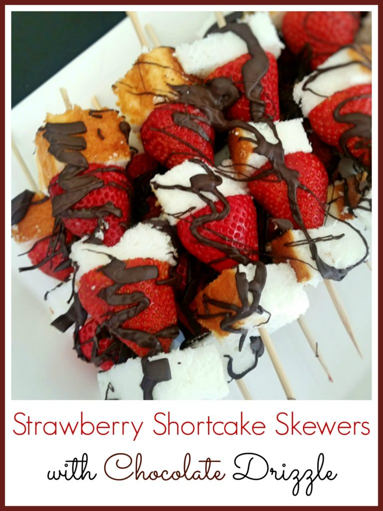 Strawberry Shortcake Skewers with Chocolate Drizzle
