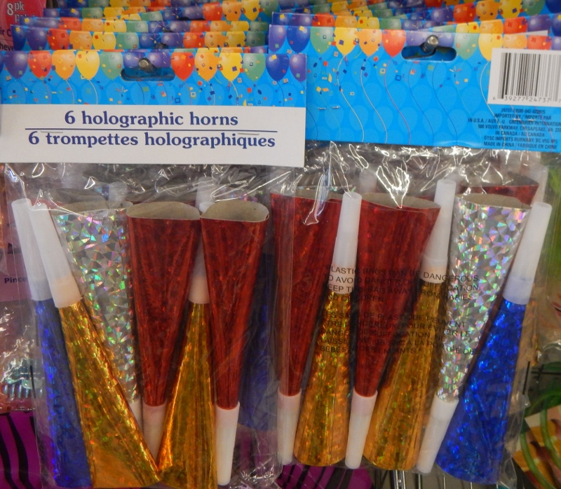 Noisemakers at the Dollar Store