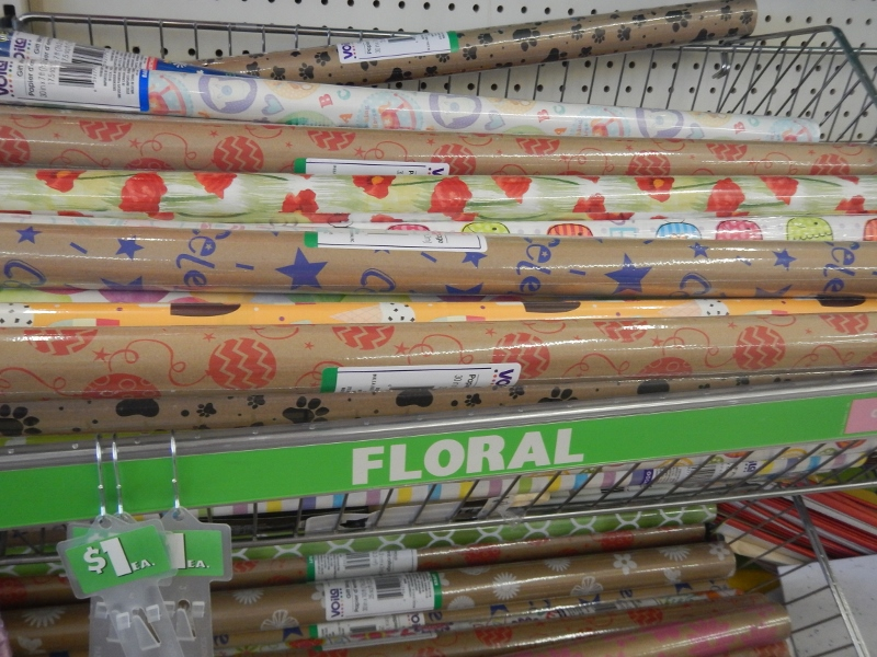 Gift wrap at the dollar store