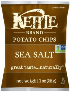 Kettle Brand Potato Chips, Sea Salt, 1-Ounce Bags (Pack of 72)