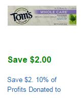 Tom's of Maine toothpaste coupon