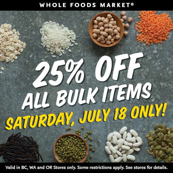 Whole Foods Market: 25% off All Bulk Items