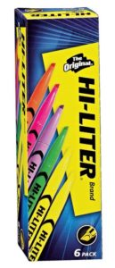 HI-LITER Pen Style, Assorted Colors, Pack of 6 (23565)