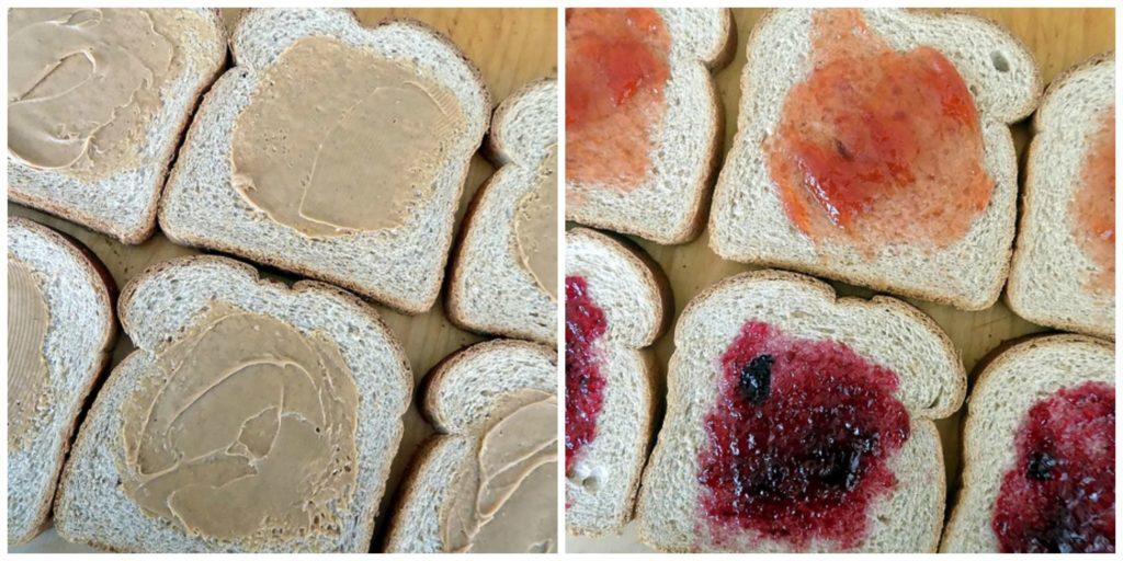Prepping Bread for Freezer PB&J