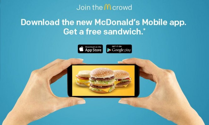 download mcdonalds app and get a free sandwich