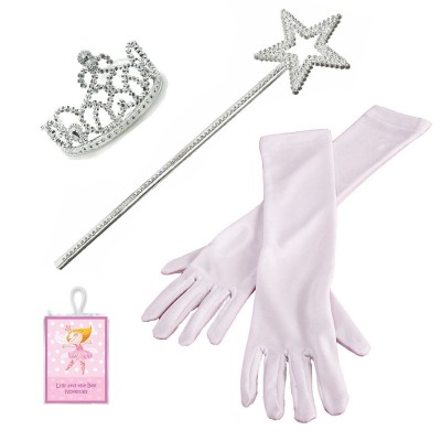3 Piece Set White Princess Gloves with Silver Tiara,Wand and Drawstring Bag