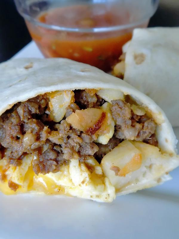 Completed Chorizo Breakfast Burrito