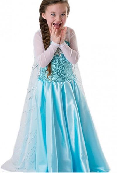 ReliBeauty Girls' Princess Elsa Fancy Dress Costume (7, Sky Blue)