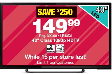 Black Friday- 40Inch HDTV (149.99)