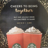 Starbucks: Buy one, get one free Holiday Drink (11/12 – 11/15)