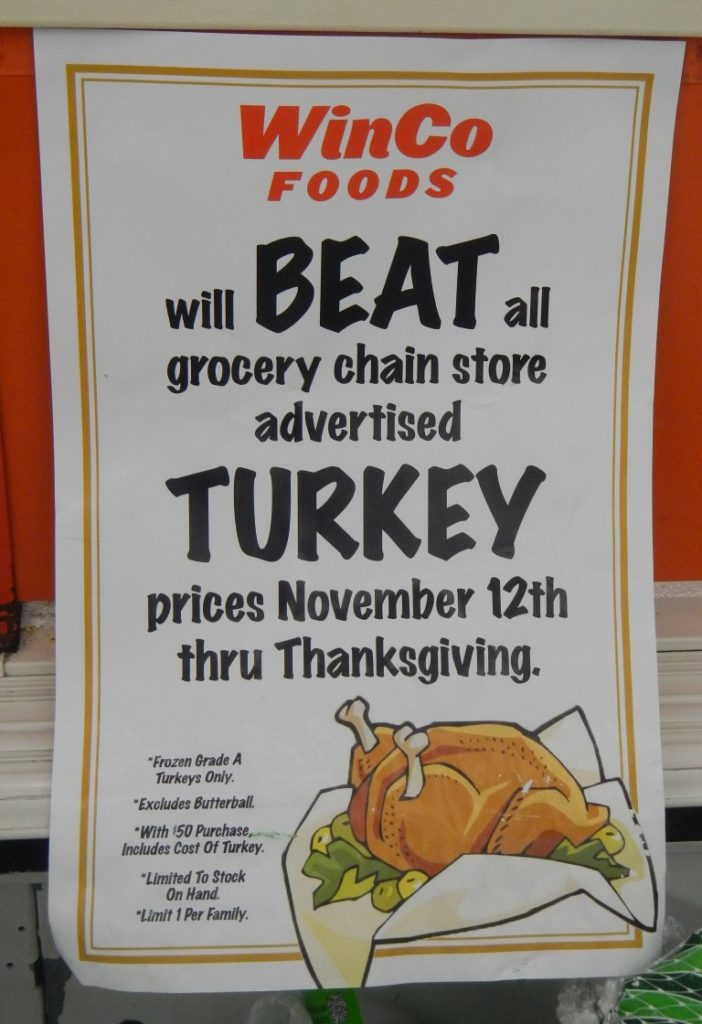 WinCo will beat all grocery chain store advertised Turkey Prices