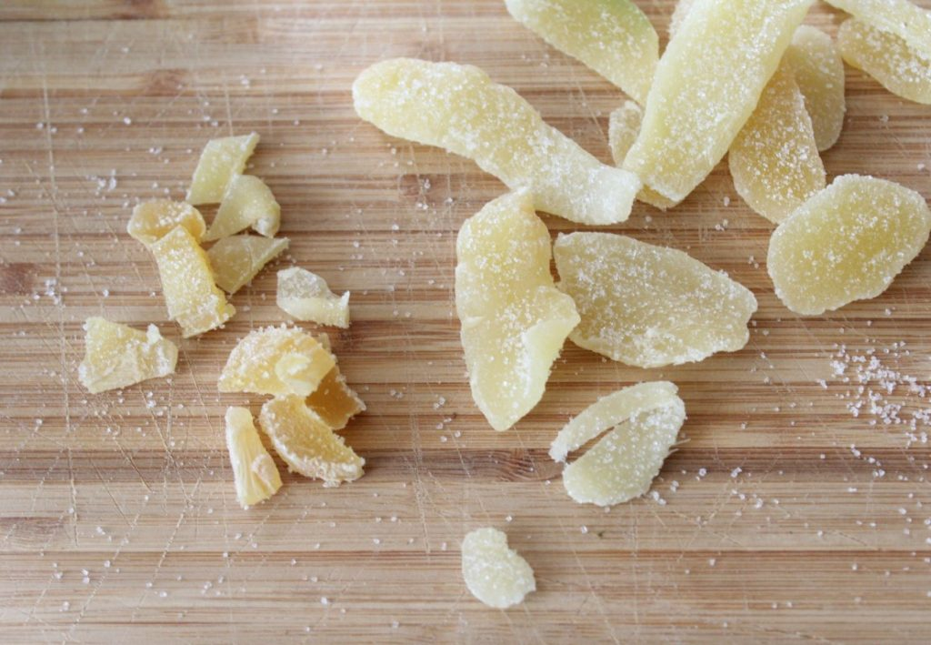 Chopping Crystallized Ginger for Mulling Spices