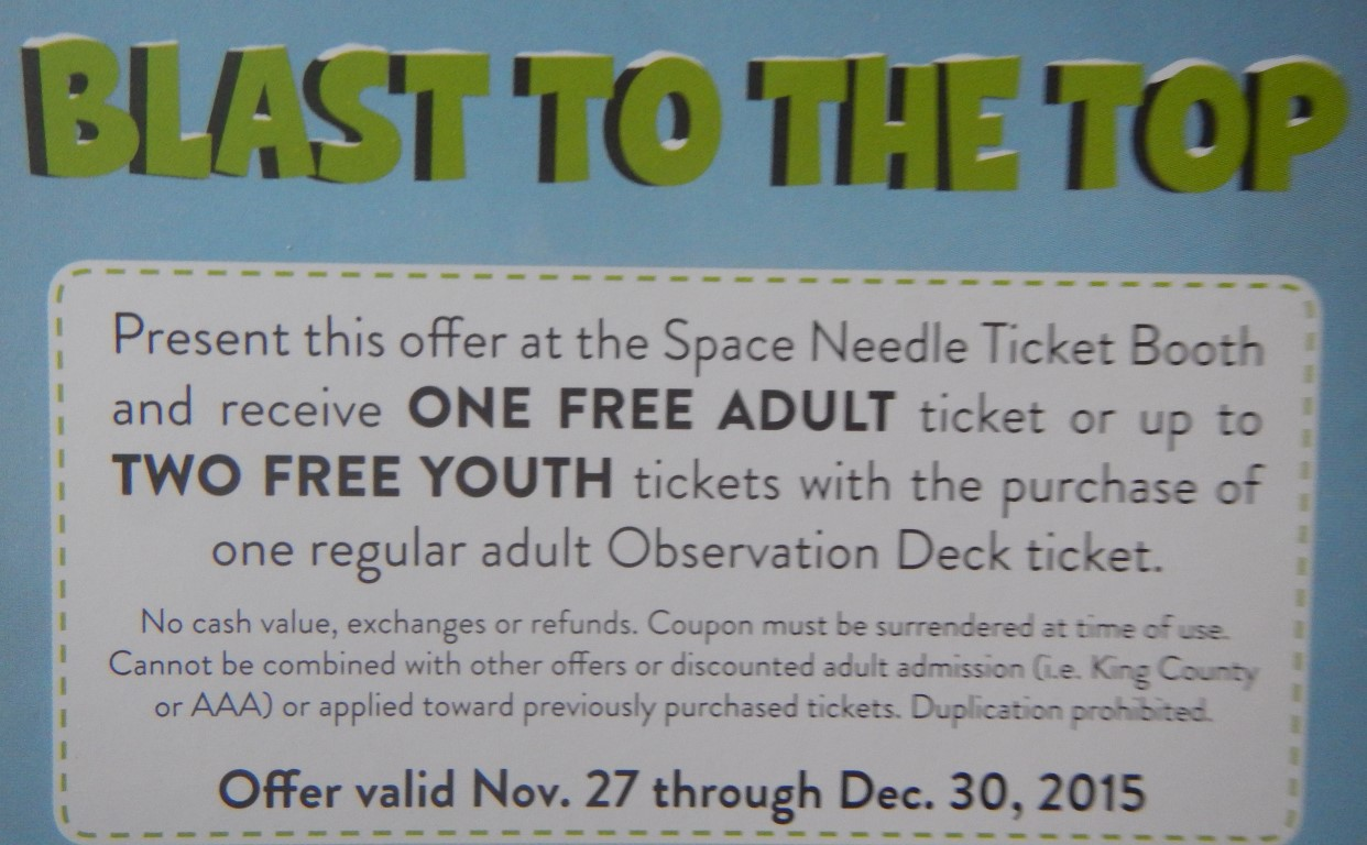 Coupons seattle space needle