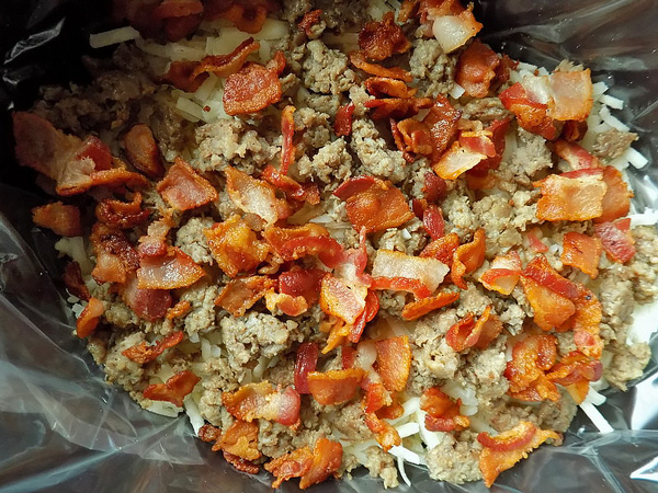 Bacon & Sausage in Slow Cooker