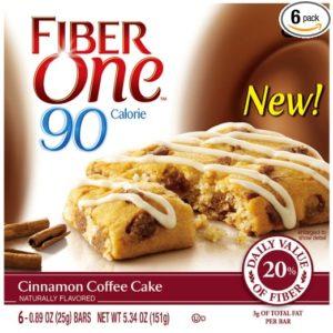 Fiber One Snacks 90 Calorie Cinnamon Coffee Cake, 6 Count, .89 oz bars, (Pack of 6)