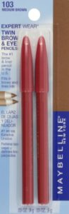 Maybelline New York Expert Wear Twin Brow and Eye Pencils, 103 Medium Brown, 0.06 Ounce
