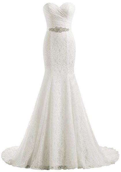 #5 U2013 Sleeveless Lace Chiffon Wedding Dress: $59+ U2013 Amazon.com. Available In  Ivory Or White U2013 4.1 Stars From 32 Customer Reviews! (Check The Comments To  See ...