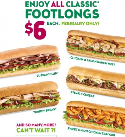 subway 6 classic footlongs in february. Black Bedroom Furniture Sets. Home Design Ideas