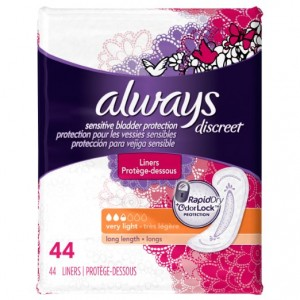 Always Discreet, Incontinence Liners, Very Light, Long Length, 44 Count