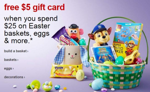 Top 20 target deals 320 326 free 5 target gift card with easter holiday purchase of 25 or more in ad target coupon or text easter to 827438 also available online plus save an negle Choice Image