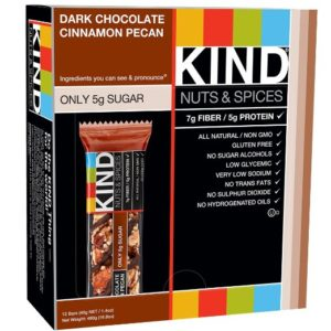 KIND Bars, Dark Chocolate Cinnamon Pecan, Gluten Free, 1.4 Ounce Bars, 12 Count