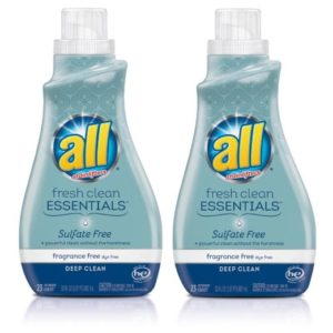 All Fresh Clean ESSENTIALS Sulfate Free Laundry Detergent, Fragrance Free, 30 Fluid Ounce, 2 Count
