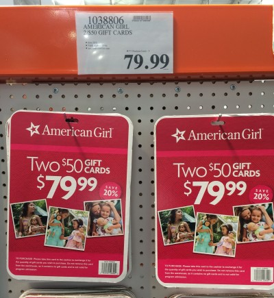 Costco: $79.99 for $100 American Girl Gift Cards!