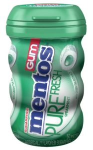 Mentos Gum Big Bottle Curvy, Pure Fresh Spearmint, 50 Pieces