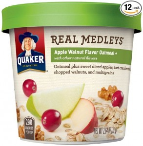 Quaker Real Medleys Oatmeal+, Apple Walnut, Instant Oatmeal Breakfast Cereal (Pack of 12)