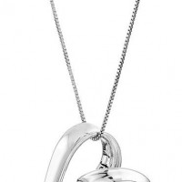 Sterling Silver A Mother Holds Her Child's Hand Heart Pendant Necklace, 18