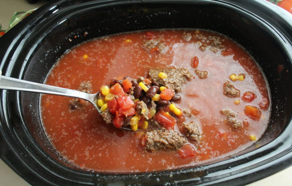 Prepping Taco Soup for the Slow Cooker