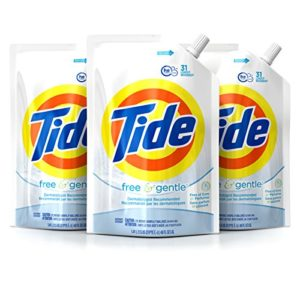 Tide Smart Pouch Free & Gentle HE Liquid Laundry Detergent, Pack of three 48 oz. pouches, 93 loads
