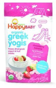 Happy Baby Organic Greek Yogis Freeze-Dried Greek Yogurt and Fruit Snacks, Strawberry Banana, 1 Ounce