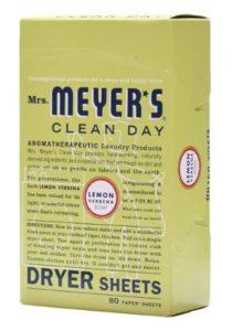 Mrs. Meyer's Clean Day Dryer Sheets, Lemon Verbena, 80 Count