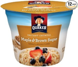 Quaker Instant Oatmeal Express Cups, Maple Brown Sugar, Breakfast Cereal (Pack of 12)