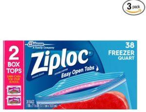 Ziploc Freezer Bag, Quart Value Pack, 38 Count (Pack of 3)