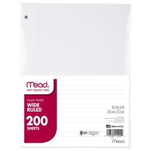 Mead Filler Paper, Loose Leaf Paper, Wide Ruled, 200 Sheets Pack (15200)