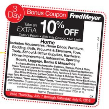 Fred Meyer Sidewalk Sale 10 Off Home Bonus Coupon Released 7 7 7 9