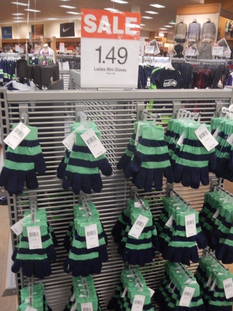 Seahawks colored gloves at Fred Meyer