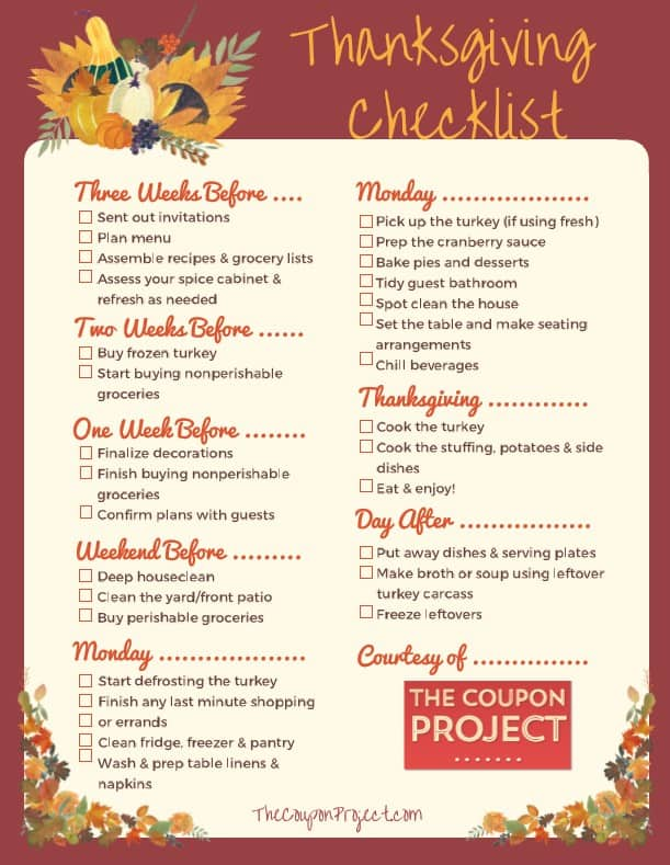 Free Thanksgiving Planning Printable - A Checklist for Everything you Need to Do