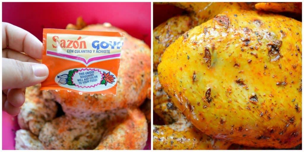 Menambahkan Sazon ke Ayam