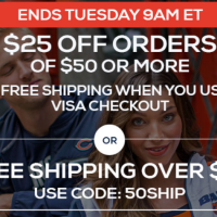Fanatics: *HOT!* Save $25 on $50 + FREE Shipping with VISA Checkout