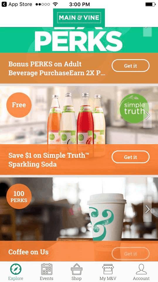 Discounts through the Main & Vine App