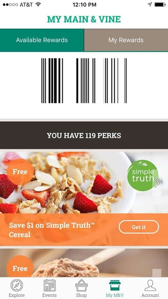 Use the Barcode at Main & Vine App