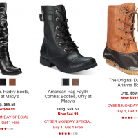 Macy's Cyber Monday: Buy one, get one free Boots (prices as low as $19.99!)