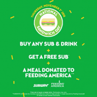 Subway: Buy any Sub & Drink on Nov 3rd, Get a 2nd Sub Free!