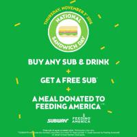 Subway: Buy any Sub & Drink on Nov 3rd, Get a 2nd Sub Free!