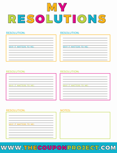 Free New Year\'s Resolutions Planning Printables